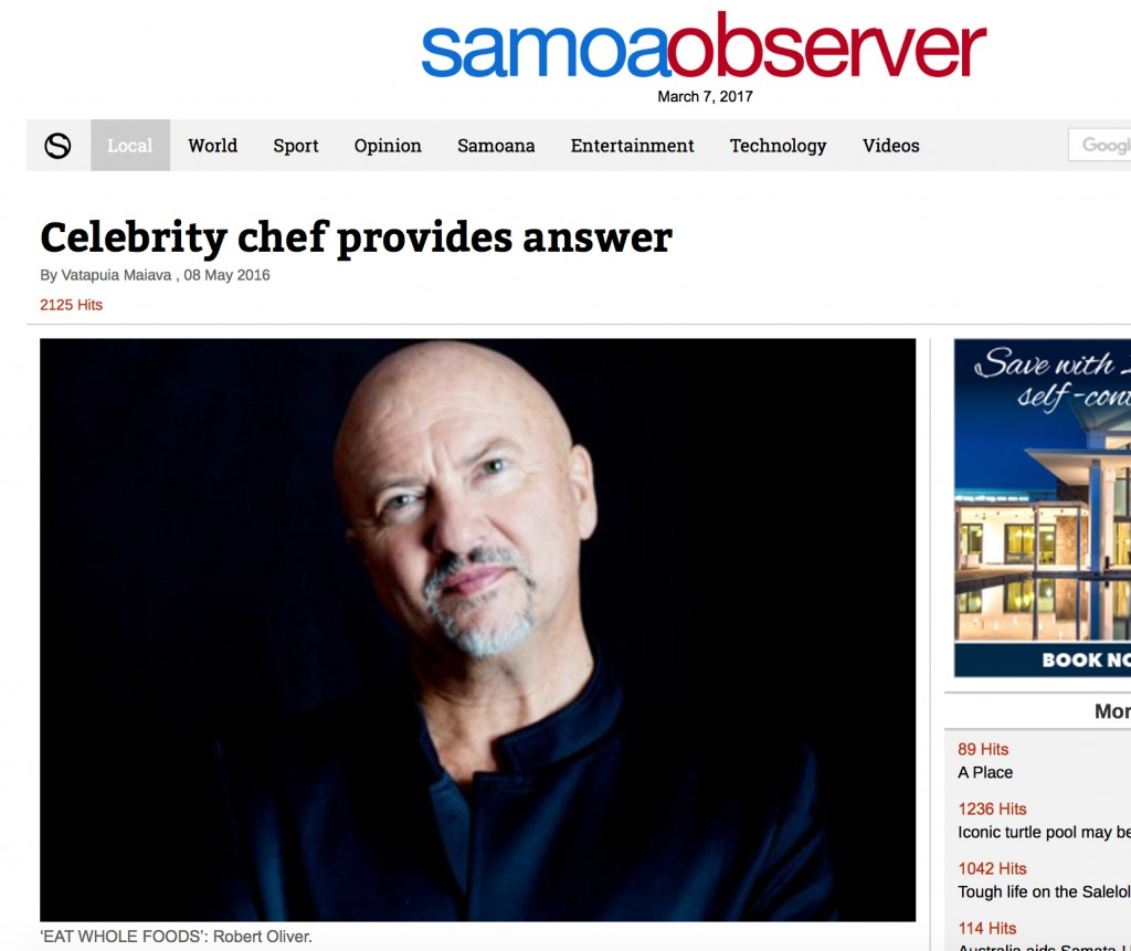 Celebrity chef provides answer: Robert Oliver in Samoa Observer