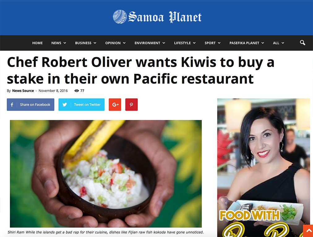 Samoa Planet: Chef Robert Oliver wants Kiwis to buy a stake in their own Pacific restaurant