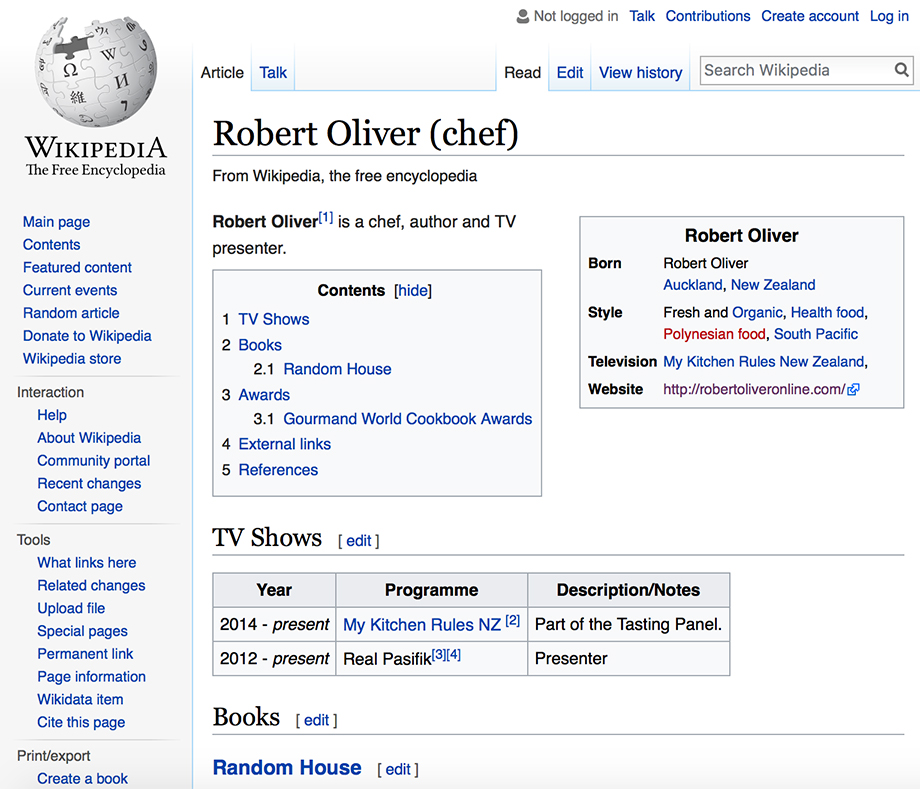 Wikipedia: Robert Oliver (chef)