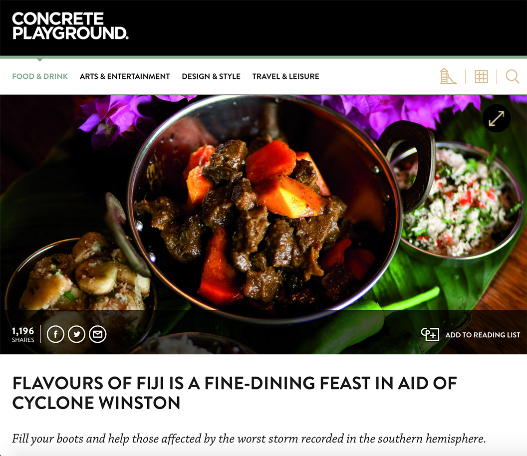 Food & Drink / Concrete Playground: FLAVOURS OF FIJI IS A FINE-DINING FEAST IN AID OF CYCLONE WINSTON