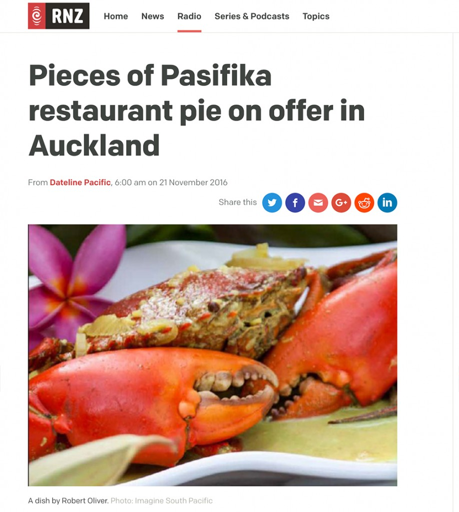 Radio New Zealand: Pieces of Pasifika restaurant pie on offer in Auckland
