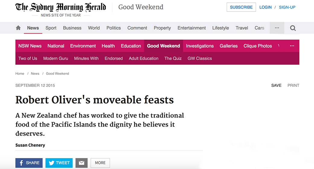 Robert Oliver's moveable feasts, Sydney Morning Herald